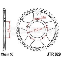 Zębatka tylna stalowa jt 829-44, 44z, rozmiar 530 2300492 suzuki gsx 750, rf 600