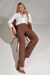 Spodnie typu dzwony z wysokim stanem- brązowe