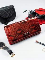 Portfel damski skórzany lakierowany czerwony cavaldi - czerwony