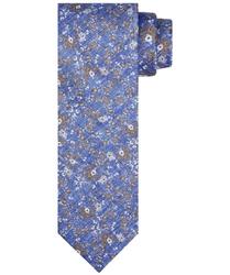 Elegancki niebieski krawat jedwabny w beżowe i białe kwiaty