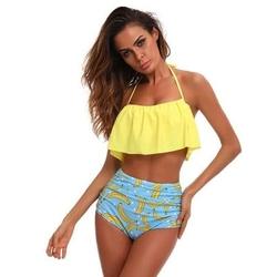 Strój kąpielowy bikini banany falbana żółty
