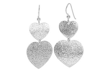 Długie modne srebrne kolczyki serca