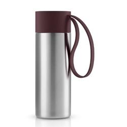 Eva solo - kubek termiczny to go cup 0,35l, troczek burgund - fioletowy || srebrny