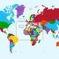 Fototapeta mapa świata, kolorowe kraje atlas eps10 plik wektorowy.