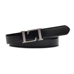 Elegancki czarny skórzany pasek męski do spodni 85