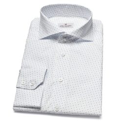Elegancka biała koszula van thorn w błękitny wzorek 44