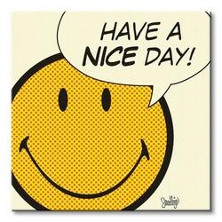 Smiley have a nice day - cream - obraz na płótnie