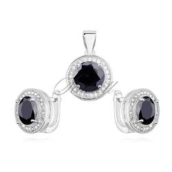 Srebrny elegancki komplet z cyrkonią pr.925 okrągły - czarny - czarna