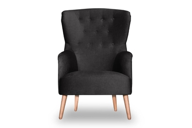 Fotel björk welurowy deluxe - welur łatwozmywalny charcoal