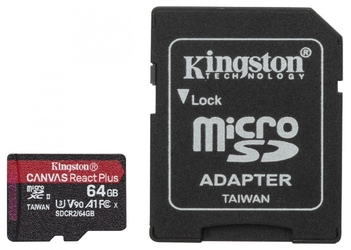 Kingston karta pamięci microsd  64gb react plus 285165mbs czytnik+adapter