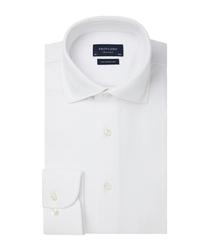 Elegancka biała koszula męska z dzianiny slim fit 46