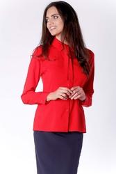 Elegancka czerwona koszulowa bluzka z wiązaniem przy kołnierzyku