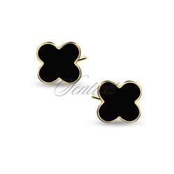 Srebrne pozłacane kolczyki pr.925 czarne emaliowane koniczyny - żółte złoto