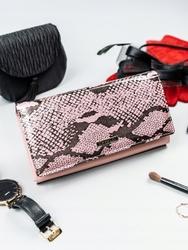 Portfel damski skórzany lakierowany różowy cavaldi - różowy