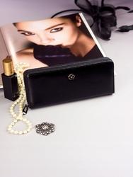 Pojemny portfel damski czarny px25-2 - czarny