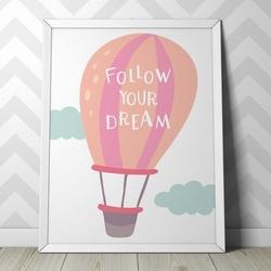 Marzenia - plakat dla dzieci , wymiary - 18cm x 24cm, kolor ramki - biały