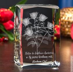 Bukiet róż 3d • piękny kryształ 3d • grawer 3d
