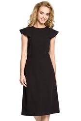 Sukienka koktajlowa rozkloszowana z falbankami przy rękawach czarna m311