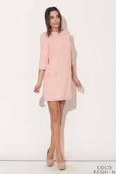Różowa Mini sukienka z Rękawem 34 i Kieszeniami
