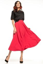 Zwiewna spódnica midi z wysokim stanem różowa t260