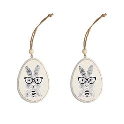Zawieszki  ozdoby wielkanocne jajka drewniane altom design 2 sztuki dekoracja zając w okularach