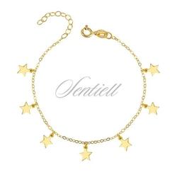 Bransoletka pr. 925 gwiazdki, pozłacana - żółte złoto
