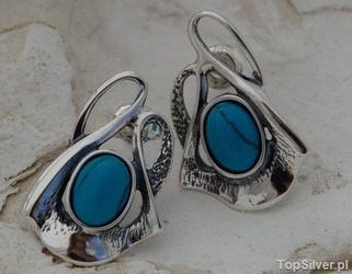 Capolinea - srebrne kolczyki z turkusem