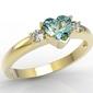 Pierścionek z żółtego złota z niebieskim topazem w kształcie serca i cyrkoniami jp-90z-c - żółte  topaz ice blue