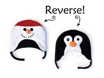 Dwustronna czapka zimowa flapjack 6m-3l - bałwanek  pingwin