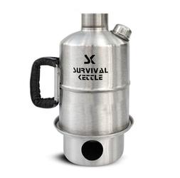 Stalowa kuchenka czajnik turystyczny survival kettle srebrna