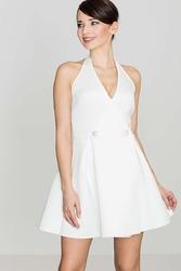 Kobieca ecru sukienka zakładana na kark