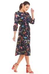 Granatowa kwiatowa sukienka midi