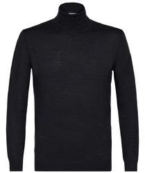 Grafitowy sweter wełniany golf xxl