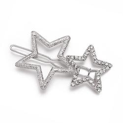 Spinka do włosów klamra dwie gwiazdy srebrna - srebrna