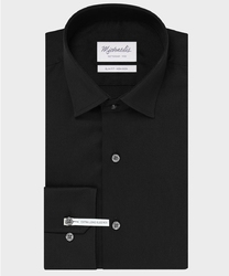 Extra długa czarna koszula michaelis z kołnierzem klasycznym 44