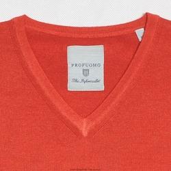 sweter  pulower v-neck z wełny z merynosów czerwony l