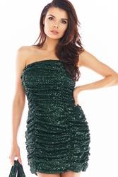 Cekinowa sukienka gorsetowa z drapowaniem - zielona