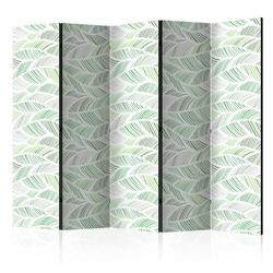 Parawan 5-częściowy - zielone fale room dividers