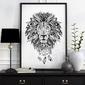 Aztecki lew - plakat designerski , wymiary - 60cm x 90cm, kolor ramki - biały