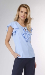 Błękitna letnia bluzka z falbankami