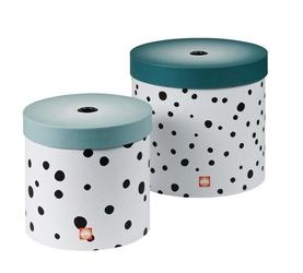 Pudełko do przechowywania okrągłe Done by deer Dots 2 szt. niebieskie