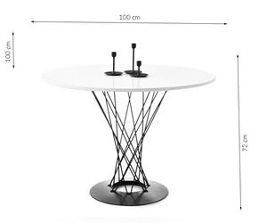 Stół toren okrągły 100x75 cm biały blat industrialny