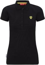 Koszulka polo damska scuderia ferrari f1 czarna - czarny