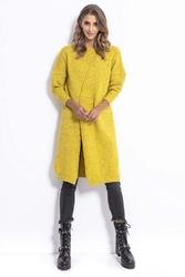 Żółty stylowy kardigan z asymetrycznym zapięciem