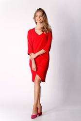 Czerwona Klasyczna Prosta Sukienka z Asymetrycznym Rozporkiem