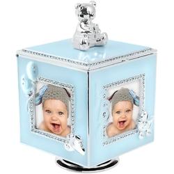 Błękitna karuzela miś z pozytywką, szkatułką i miejscem na 4 zdjęcia na chrzest roczek dedykacja - karuzela miś z pozytywką niebieski