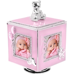 Różowa karuzela miś z pozytywką, szkatułką i miejscem na 4 zdjęcia na chrzest roczek dedykacja - różowy