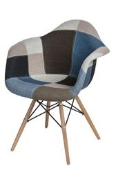 Krzesło p018w insp. daw patchwork niebieskoszary