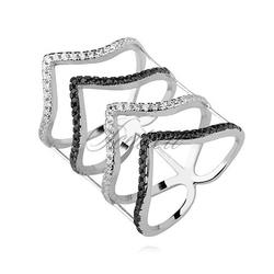 Srebrny, duży pierścionek pr.925 cyrkonia biała i czarna