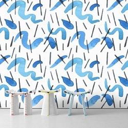 Tapeta na ścianę - watercolor waves , rodzaj - tapeta flizelinowa